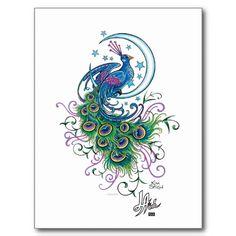 Peacock Tattoo Postcard