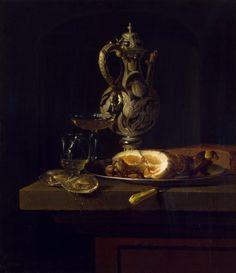Breakfast with Ham, Simon Luttichuys.  Dutch Baroque Era Painter (1610-1661)