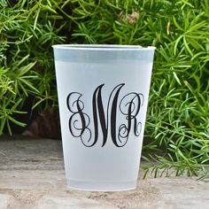 200 Monogrammed Shatterproof FrostFlex Cups by GraciousBridal, $99.95