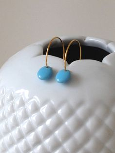 Delicate Gold Earrings - bright blue bead - simple, modern, classic - bride, wedding by LilahV. $28.00, via Etsy.