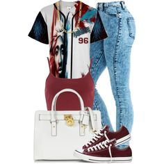 A fashion look from December 2014 featuring River Island tops, Converse sneakers and Michael Kors handbags. Browse and shop related looks.
