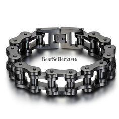 Black / Silver Stainless Steel Motorcycle Chain Bracelet Wristband for Men #UnbrandedGeneric #Chain