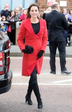 Kate Middleton wearing Aquatalia by Marvin K Rumba Boots and Armani Coat.