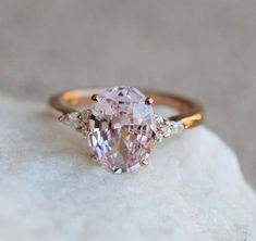 Emerald engagement ring rose gold Unique diamond Cluster ring Vintage wedding Promise Bridal set Jewelry Anniversary Gift for women Description: - Vintage style Emerald and diamond ring - Natural Conflict free diamonds. Shop Engagement Rings, Rose Gold Engagement Ring, Engagement Ring Settings, Vintage Engagement Rings, Diamond Wedding Bands, Pink Sapphire Ring, Different Engagement Rings, Colored Engagement Rings, Oval Engagement