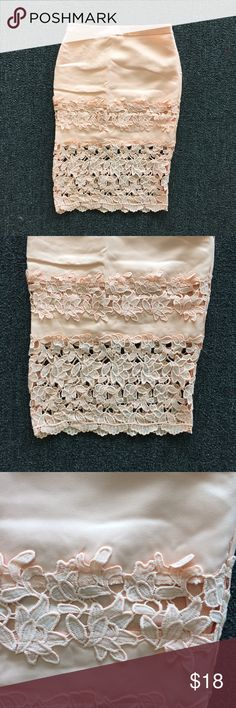MFYO Boutique Peach Crochet Midi Skirt Beautiful skirt in a peach/coral color that's perfect for spring! It has a zipper closure down the side. MFYO Boutique Skirts