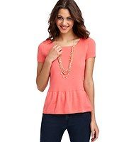 Peplum Hem Short Sleeve Sweater - A sweet peplum hem adds a girly twist to this oh so cute sweater style. Scoop neck. Short sleeves. Banded neckline. Zip at back neck with grosgrain trim. Ribbed neckline and cuffs.