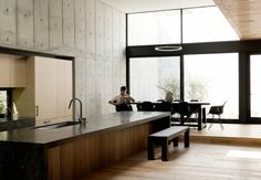 Beautiful and #minimal kitchen in a #Japanese inspired #concrete box home