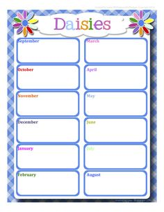 Girl Scouts: Full Year Daisies Calendar - Word editable format!