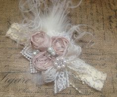 Mademoiselle rosette headband over the top bow vintage Vintage Headbands, Pink Headbands, Ribbon Hair Bows, Girl Hair Bows, Rosette Headband, Baptism Headband, Satin Flowers, Diy Hair Accessories, Pink Champagne