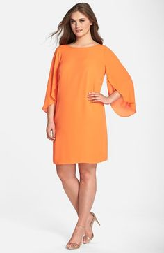 London Times Tulip Sleeve Georgette Shift Dress (Plus Size) available at #Nordstrom