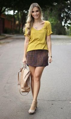Look Amarelo e Tweed