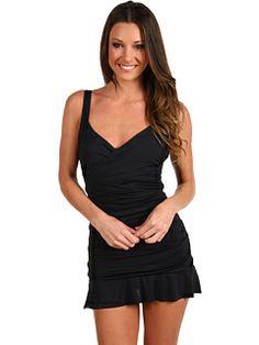 b09c44516bcf5 Calvin klein solid swimdress black. Women's One Piece SwimsuitsModest ...