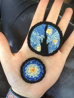 A round patch inspired by Vincent van Goghs world famous Starry Night. This iron on applique will look great on your denim jacket, tote bag and Cute Patches, Pin And Patches, Iron On Patches, Bag Patches, Denim Jacket Patches, Badges, Starry Night Art, Embroidery Patches, Iron On Applique