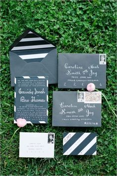 Dramatic Black and White Wedding Inspiration by IYQ Photography on Wedding Chicks #stationery