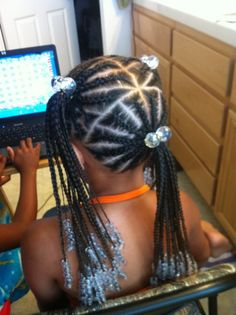 Long hair of 3 ponytails of braids
