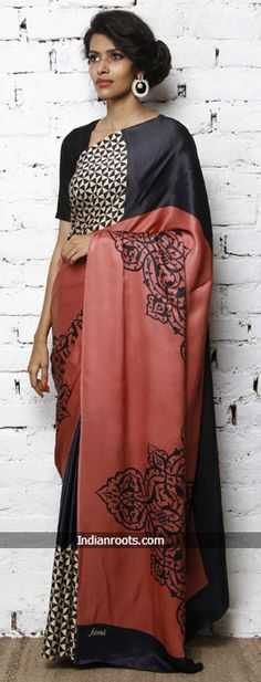 Black and coral digitally printed silk satin saree by Satomi at Indianroots.com