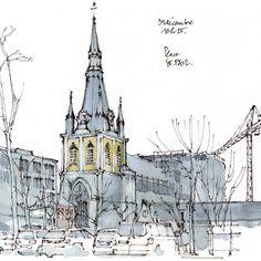 Gérard Michel (@gerardmichelgerard) в Instagram: «Liège, place Saint-Paul. #aquarell #art #painting #watercolor #watercolour #sketch  #paint  #drawing #sketching #sketchbook #travelbook #archisketcher #sketchaday #sketchwalker #sketchcollector  #traveldiary #topcreator #usk  #urbansketch #urbansketchers #скетчбук #скетч #скетчинг #pleinair #aquarelle #watercolorsketch #usk #architecture #painting #illustration