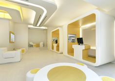 """The interiors in Mediobanca's """"Che Banca!"""" retail bank provide ultra mod """"pods"""" to complete online banking transactions; Milan, Italy 