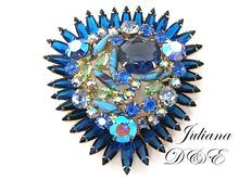 Stunning Massive Juliana D Blue Rhinestone Brooch