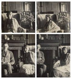 Virginia Woolf and T. S. Eliot photographed by Lady Ottoline Morrell at Garsington Manor in 1924. #virginiawoolf #tseliot