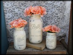 More Mason Jars...large jar can be used as advice for the bride. Also Michael's has glass versions - could be a DIY project