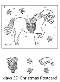 Karen`s Paper Dolls: Klavs 3-D Christmas Horse Postcard to Print and Colour. Klavs 3-D jule heste postkort til at printe og farvelægge.