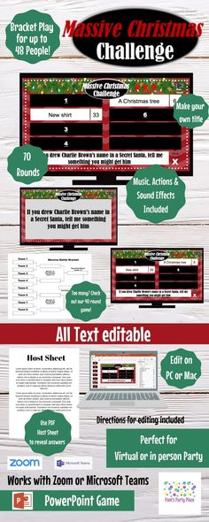 Massive Christmas Challenge, Editable, PowerPoint Game, Customized, 70 Rounds, Bracket Play! Office