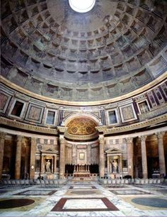 The unreinforced concrete dome of the Pantheon in Rome, Italy has never caved since it was built around 126 A.D.