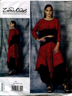 Zandra Rhodes Vogue V1472 Designer Originals Misses Crop Top and Shaped Skirt Sewing Pattern Size Sml to Lrg (8 to 18) UNCUT