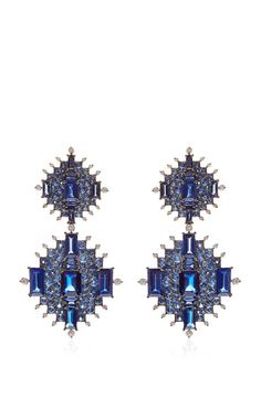 Rhodium White Gold, Sapphire, Kyanite & Diamond Earrings by Nam Cho
