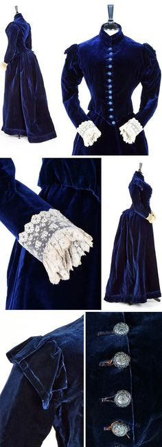 Sapphire blue velvet day dress, Miss Blazeby of Portman Sq., London, late 1880s. Embroidered buttons, Elizabethan references at shoulders and cuffs. Kerry Taylor Auctions
