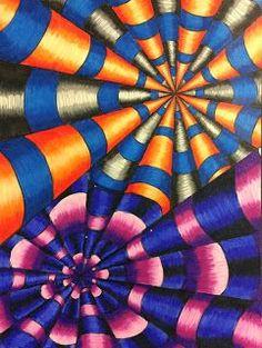 Color Pencil Drawing Tutorial Art Ed Central loves :That Little Art Teacher: Op Art and Colored Pencil Tutorial - Art 1 Illusion Kunst, Optical Illusion Art, Optical Illusions, Op Art Lessons, Intro To Art, Opt Art, 7th Grade Art, Creation Art, School Art Projects