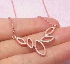 Dainty Leaf Necklace in Gold/Silver/Rose Gold by StarHillBoutique