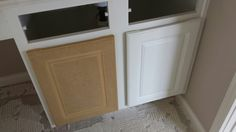 """Melamine cabinets! Do u have the plastic covered cabinets? Don't buy expensive """"cabinet paint""""...just peel the white plastic off and underneath is MDF.  Paintable with regular ole latex paint! Get it started with a razor along an edge....and it will peel right off!"""