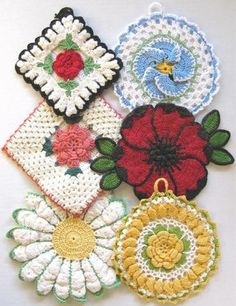 """Design By: Maggie Weldon Skill Level: Intermediate Size: Granny Rose Potholder- about 6"""" square Ruffled Rose Potholder- about 6"""" diameter Daisy Potholder- 7½"""" diameter Rose and Shells Potholder- about"""