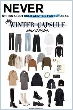 Women's Wardrobe Essentials, Capsule Wardrobe Work, Capsule Outfits, Fashion Capsule, Winter Fashion Outfits, Korea Winter Fashion, Autumn Winter Fashion, Work Outfits, Wardrobe Staples