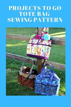 Projects to Go Tote Bag pattern. The perfect bag for any crafter, sewer or knitter to make. Bag Pattern Free, Bag Patterns To Sew, Messenger Bag Patterns, Craft Bags, Patchwork Bags, Sewing Basics, Beginners Sewing, Sewing Crafts, Sewing Diy