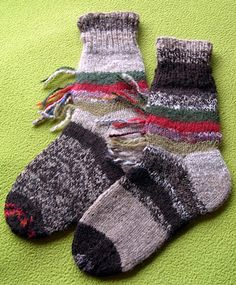 Hand spun, hand knitted socks from leftover stash