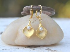 Gold Calla Lily and White Swarovski Pearl Dangle Bridal Earrings. Bridesmaids Gold Earrings. Jewelry Gift for Her.  Free Shipping.. $24.00, via Etsy.
