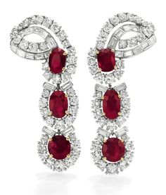 Aretes de rubíes y diamantes de Cartier. Regalo de Michael Todd en agosto de 1957.