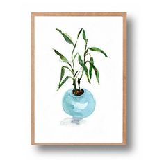 art print Lucky Bamboo in Aquamarine Pot print by TheJoyofColor