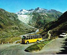 Switzerland - Furka road (Furkastrasse). View of Rhone Glacier and Galenstock (3586m)