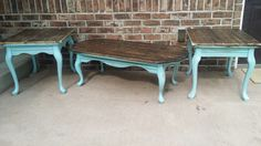 Old end tables and coffee table turned new with aqua distressed legs and added walnut stain wood to the top.