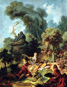 Progress of Love: The Lover Crowned: 1771-73 by Jean-Honoré Fragonard - Commissioned by Madame du Barry but rejected, eventually part of JP Morgan collection - panel in the Fragonard Room (The Frick Collection, NYC) - Rococo