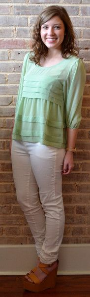 Mint top with pleats, white skinnies, and wedges super cute spring fashion by Studio 3:19
