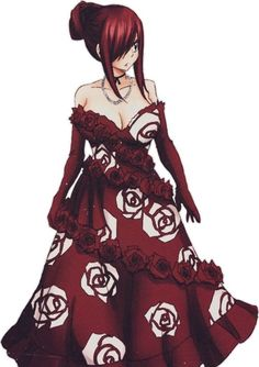 I don't think I've really ever seen Erza in like, A FULL ON DRESS! SHE LOOKS SO GOOD!