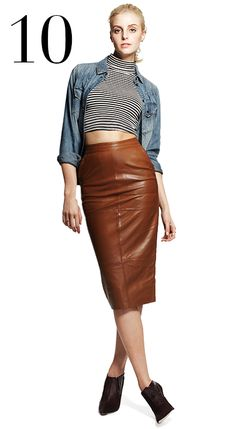 Brown Leather Look Skirt