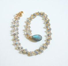 Blue Flashy Labradorite Briolette With by ferozasjewelery on Etsy, $110.00