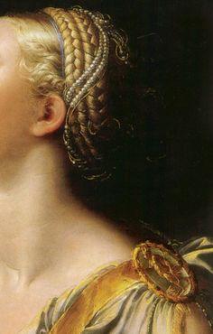 Women in Art Girolamo Francesco Maria Mazzola (Parmigianino), Lucrezia, detail Renaissance Hut, Costume Renaissance, Renaissance Hairstyles, Historical Hairstyles, Italian Renaissance, Classical Art, Detail Art, Beautiful Paintings, Modern Paintings