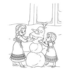 Baby Anna And Baby Elsa Making Olaf In Frozen Coloring Pages Frozen Coloring Elsa Coloring Pages Disney Princess Coloring Pages